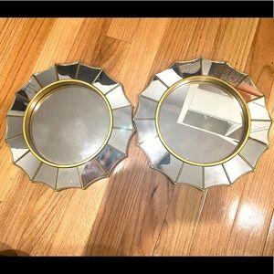 Two Decorative Sun Star Gold Rim Wall Mirror